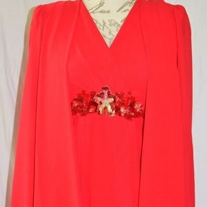Vtg Ursula of Switzerland Chiffon Dress 2P Sequins